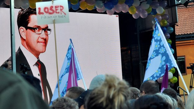 Unpopular populist: SD's leader Jimmie Åkesson is used to demonstrations at his party's rallies